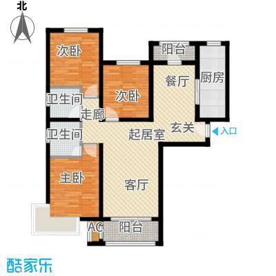 东方晨曲花苑124.27㎡D户型3室2厅2卫124.27QQ