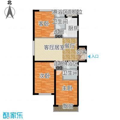 中信海港城127.00㎡海景公寓F户型三室二厅二卫户型3室2厅2卫