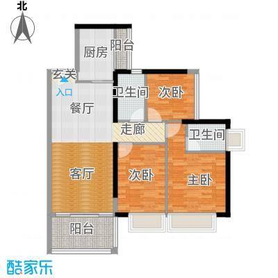 丹梓龙庭A栋C偶数层户型3室1厅2卫1厨