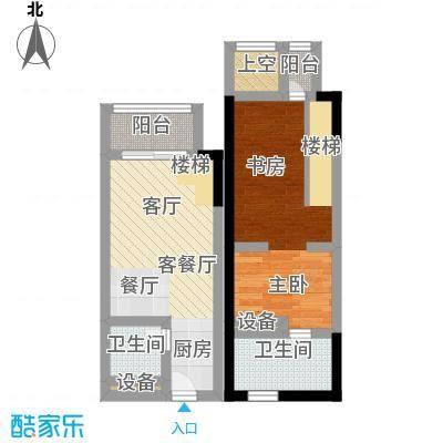 漕湖之星5#简约1F与2F的合图户型1室1厅2卫