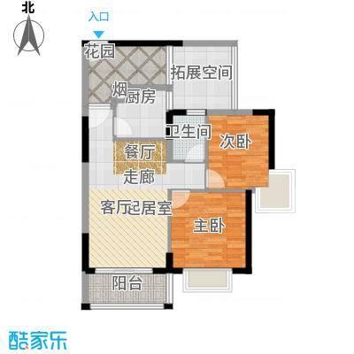 德洲丹缇轩2-3栋香缇居标准层B1户型2室1卫1厨