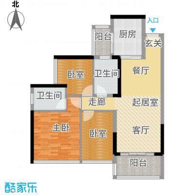 中海橡园国际98.19㎡4栋02户型1室2卫1厨
