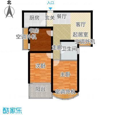 银河湾明苑93.00㎡E户型3房2厅1卫户型3室2厅1卫