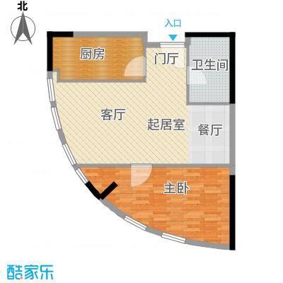 邦泰国际公寓76.00㎡10层07户型1室1卫1厨