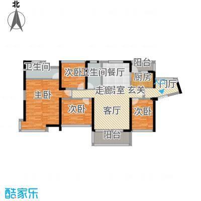汇龙湾花园115.00㎡3号楼A型4房2厅2卫户型4室2厅2卫