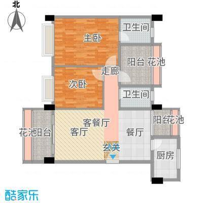 景湖时代城户型2室1厅2卫1厨