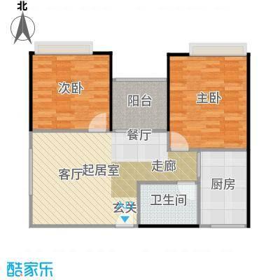 东海阳光67.85㎡户型2室1卫1厨