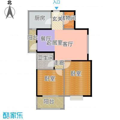 晶鑫华庭84.00㎡E户型2室2厅1卫