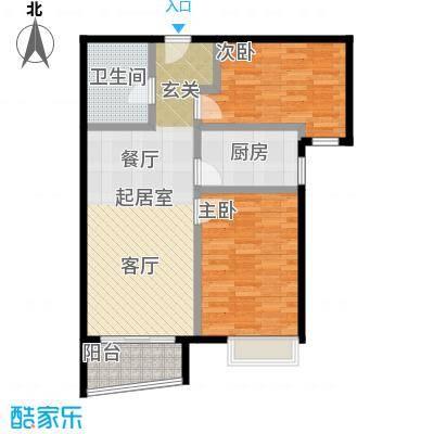 北京城建・世华泊郡84.00㎡1号楼B1户型2室2厅1卫
