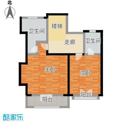 滨海湖89.00㎡滨海湖双拼二层C户型图2室1厅2卫1厨89.00平米户型2室1厅2卫