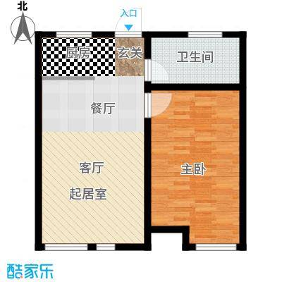 玩美天地62.00㎡11号楼三层平面图D-1户型1室2厅1卫