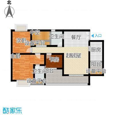 鸥鹏壹�公�117.78㎡E1洋房,三室两厅双卫,套内约96.76平米户型3室2厅2卫