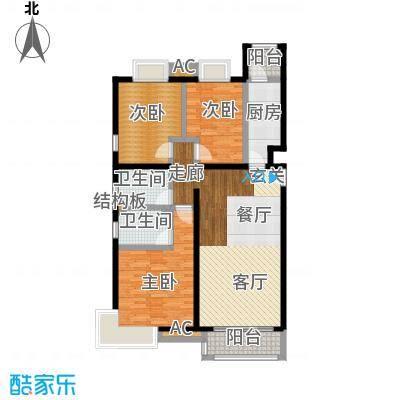 天恒乐活城D5125.00㎡图为G1户型 三室二厅二卫户型3室2厅2卫