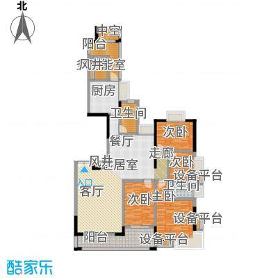 富力唐宁花园A4栋标准层01户型4室2卫1厨