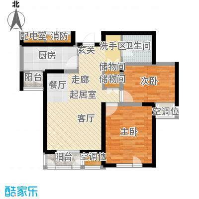 天房美域豪庭03户型2室2厅1卫
