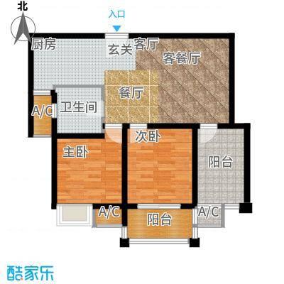 红鼎湾花园85.00㎡C户型2室2厅1卫X