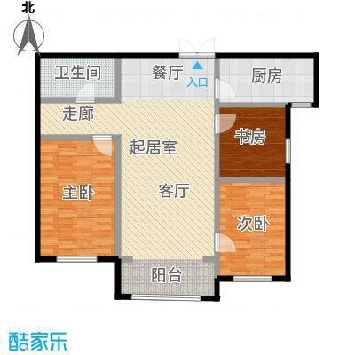 博雅园116.98㎡5#楼住宅户型3室1卫1厨