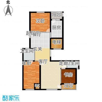盛和观邸户型图三室两厅两卫一厨154.36平米(2/7张)