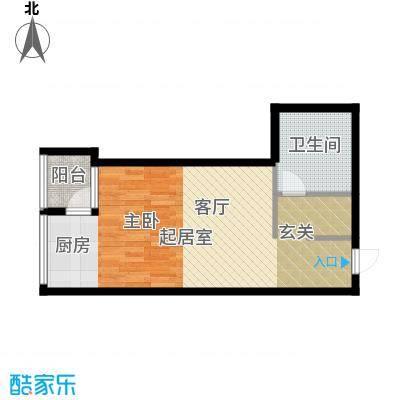学府公馆58.56㎡一室两厅一卫58.56平米C-户型1室2厅1卫