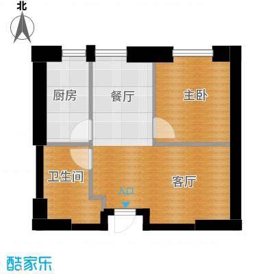 星海大观64.79㎡一室二厅一卫户型