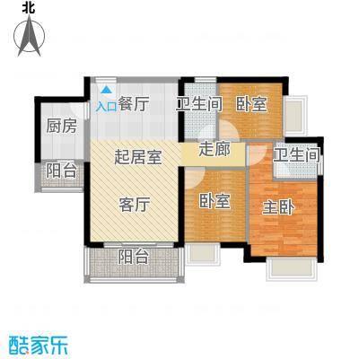 中惠丽阳时代二期88.60㎡户型1室2卫1厨
