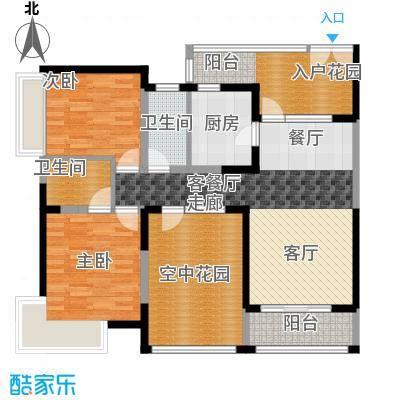 新世纪星城三期105.60㎡B3双数层户型2室1厅2卫1厨