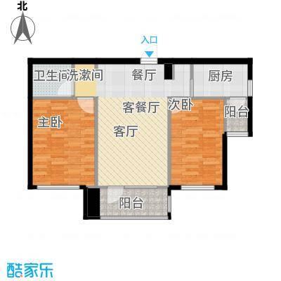 红星海世界观75.00㎡岚谷19#小高层E户型2室1厅1卫1厨