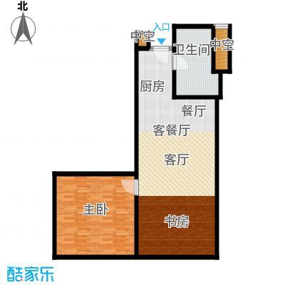 深圳湾98.00㎡B户型图二室二厅一卫户型2室2厅1卫