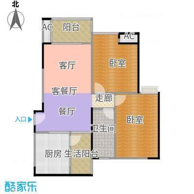 中海花城湾A6栋05单元户型1厅1卫1厨