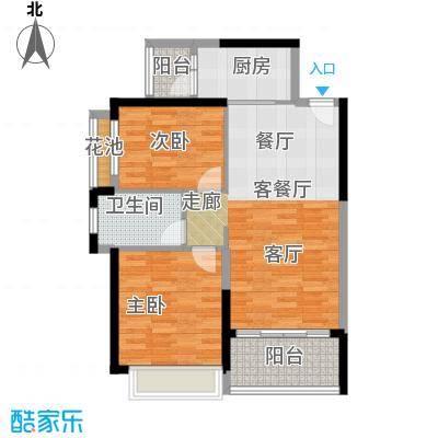 恒大银湖城20栋3-24层02户型2室1厅1卫1厨