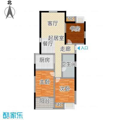 顺天花苑110.81㎡三房两厅一卫 110.81平米户型3室2厅1卫