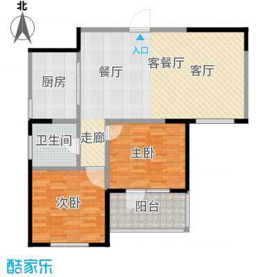 朗诗绿色街区18#B2户型2室1厅1卫1厨