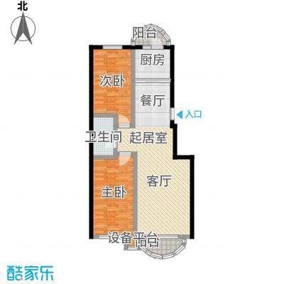 香洲心城三期100.00㎡21、22#B户型2室2厅1卫1厨 100.00㎡户型2室2厅1卫