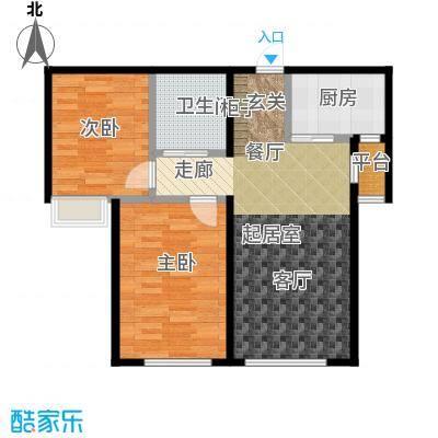 华发新城89.88㎡B户型2/4-2#/3# 二室二厅一卫户型2室2厅1卫