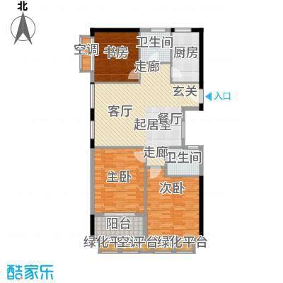 金地假日广场114.00㎡C户型 3房2厅2卫户型3室2厅2卫