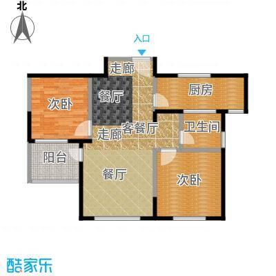 朗诗绿色街区88.00㎡19#B1\'户型2室2厅1卫