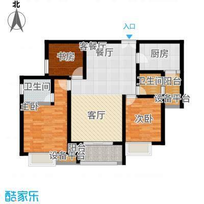 鸥鹏壹�公�98.81㎡E2洋房,两室两厅双卫,套内约85.53平米户型2室2厅2卫