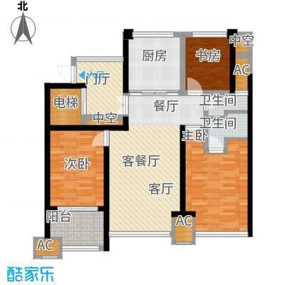 中梁天御丽莎名苑南区4号楼边户6号楼中间户户型3室1厅2卫1厨