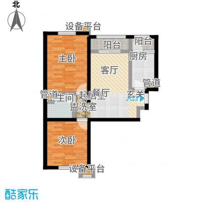 北辰福第04两室两厅一卫户型