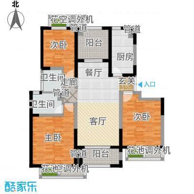 置地青湖语城一期3#D户型3室1厅2卫1厨