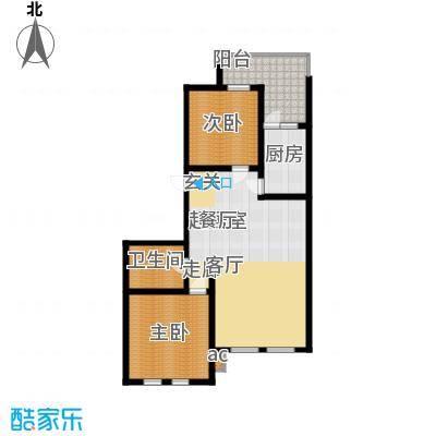 蒙鑫国际名城108.00㎡两室两厅户型