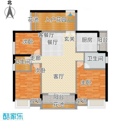 中熙弥珍道尊华3+1567栋05户型3室1厅2卫1厨