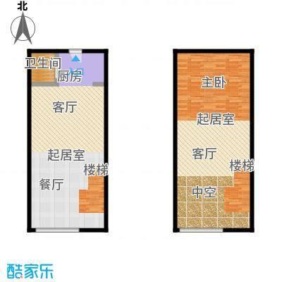 明翰国际78.75㎡明翰国际LOFT公寓 B2户型图 1室1厅1卫78.75平户型1室1厅1卫