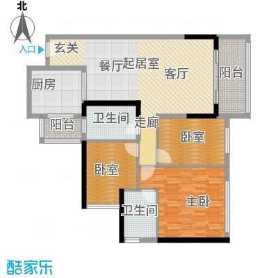 中海橡园国际111.85㎡户型1室2卫1厨
