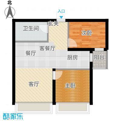 尚海华庭76.00㎡K户型2室1厅1卫