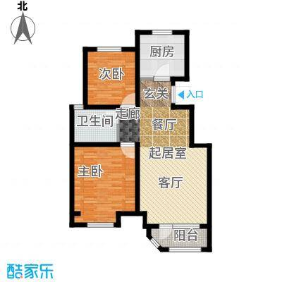 金地艺境85.00㎡11层洋房A户型 两室两厅一卫户型2室2厅1卫
