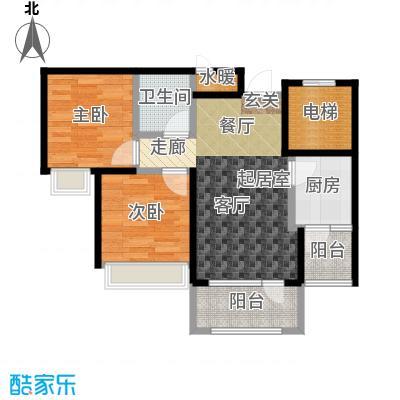 平谷蓝熙庭68.84㎡B户型 二室一厅一卫户型2室1厅1卫