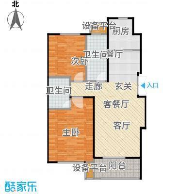 万达金石天成90.56㎡H1户型二室二厅二卫户型2室2厅2卫
