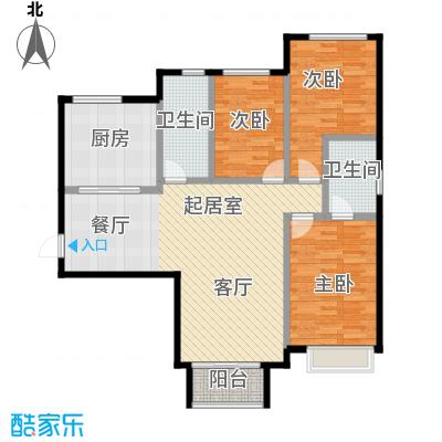 北京城建・世华泊郡118.00㎡1号楼B2户型3室2厅2卫