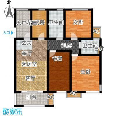 首开国风华府116.00㎡B1户型3室2厅2卫X